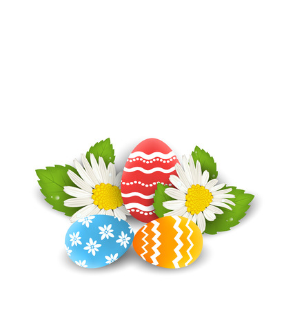 camomiles: Illustration traditional colorful ornate eggs with flowers camomiles for Easter, copy space for your text - vector