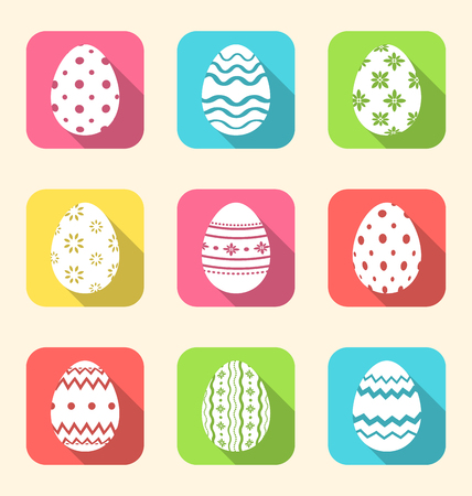 paschal: Illustration flat icon of Easter ornate eggs, long shadow style - vector