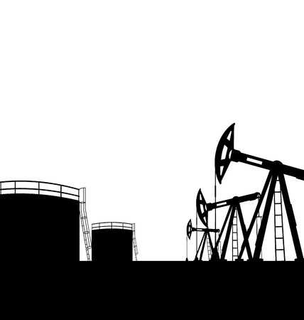oilwell: Illustration oil pump jack for petroleum and reserve tanks, isolated on white background - vector