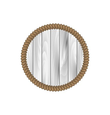 woodgrain: Illustration round wooden frame with rope isolated on white background - vector