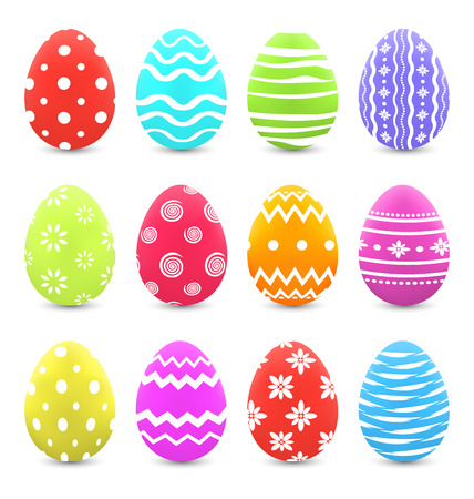 pascua: Illustration Easter set colorful ornate eggs with shadows isolated on white background - vector Illustration