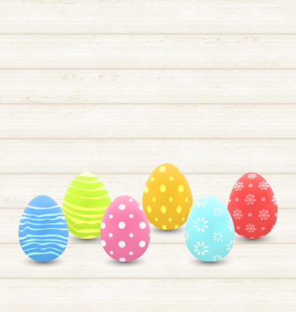pascua: Illustration wooden background with colorful traditional eggs for Easter - vector Illustration