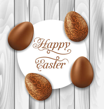 pascua: Illustration greeting card with Easter chocolate ornamental eggs on wooden background - vector