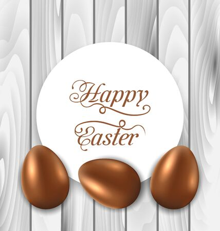 Illustration celebration card with Easter chocolate eggs on wooden grey background - vector