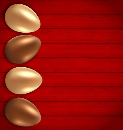 uova d oro: Illustrazione di Pasqua di cioccolato e dorati uova su sfondo rosso di legno - vettore