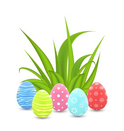 Illustration traditional colorful ornamental eggs with grass for  Easter - vector