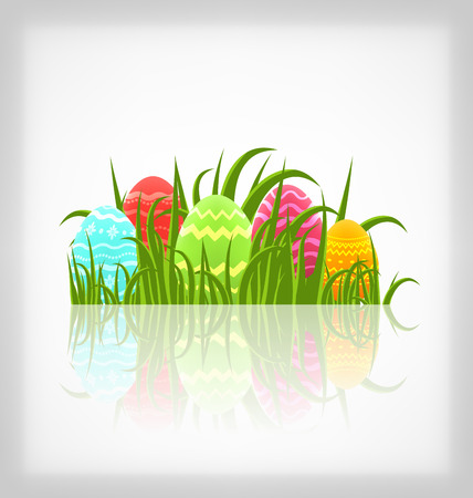 pascua: Illustration Easter natural background with traditional colorful eggs in grass meadow - vector Illustration