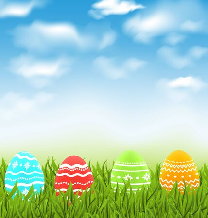 pascua: Illustration Easter natural landscape with traditional colorful eggs in grass meadow, blue sky and clouds - vector