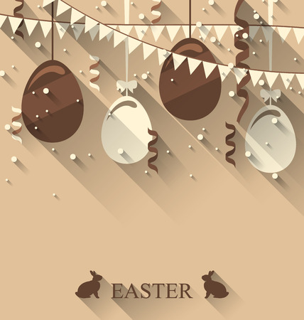 pascua: Illustration Easter background with chocolate eggs, serpentine and bunting flap, trendy flat style - vector Illustration