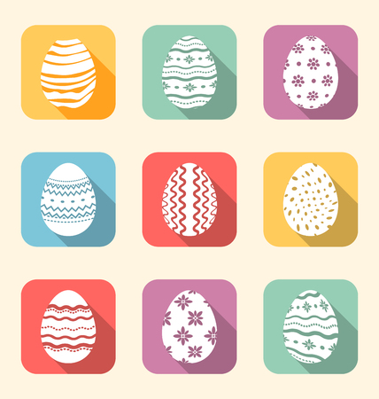 pascua: Illustration flat icon of Easter ornate eggs, long shadow style - vector