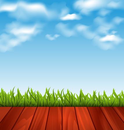 freshness: Illustration freshness spring green grass and wood floor - vector