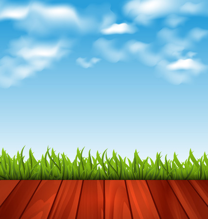 woodgrain: Illustration freshness spring green grass and wood floor - vector