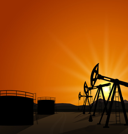 oilwell: Illustration oil pump jack for petroleum and reserve tanks on sunrise background - vector