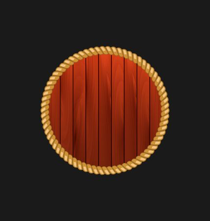 plywood: Illustration round wooden frame with rope isolated on dark background - vector Illustration