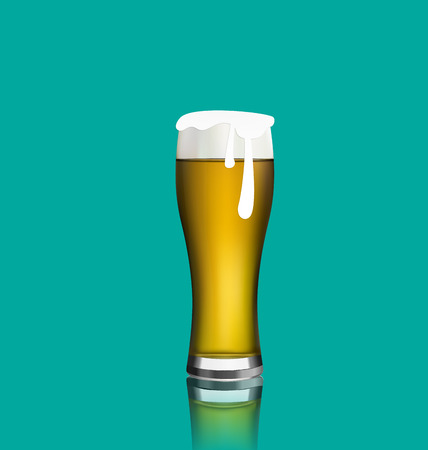 glass reflection: Illustration close up realistic glass of beer with reflection - vector Illustration