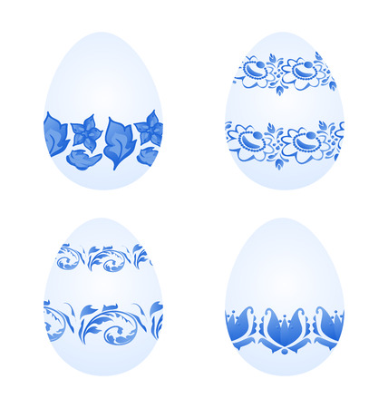 pasch: Illustration Easter eggs with russian national ornament in gzhel style - vector