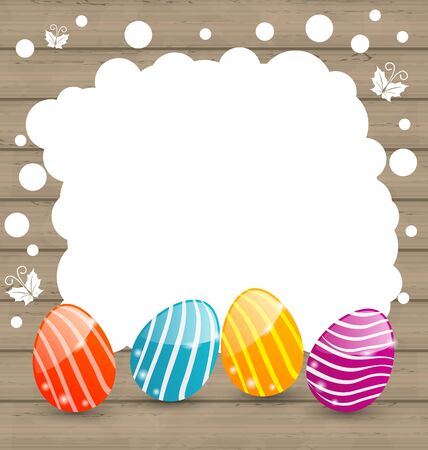 pascua: Illustration holiday card with Easter colorful eggs on wooden background - vector Illustration