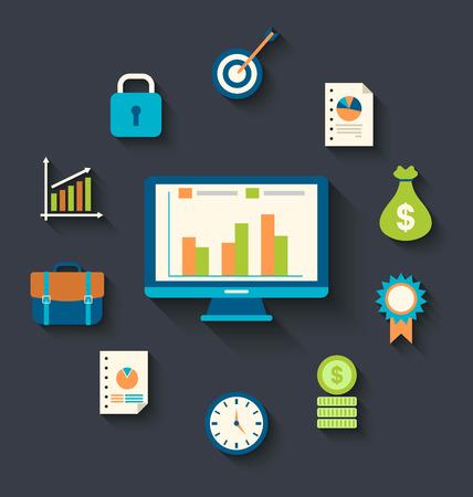 strategic management: Illustration flat icons concepts for business, finance, strategic management, investment - vector