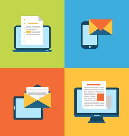Illustratie concept van de e-mail marketing via elektronische gadgets - nieuwsbrief en abonnement, vlakke trendy pictogrammen - vector