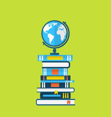 Illustratie vlakke pictogrammen van de wereld en heap handboeken - vector