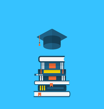 textbooks: Illustration flat icons of graduation cap and  heap textbooks - vector