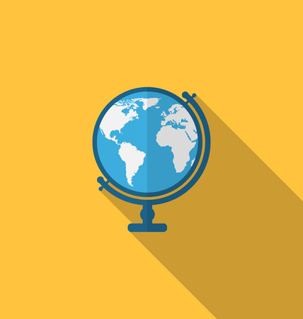 flat earth: Illustration flat icon of globe with long shadow style - vector