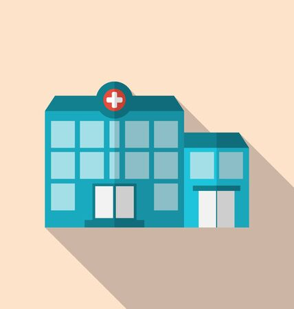 hospitalization: Illustration flat icon of hospital building with long shadow - vector