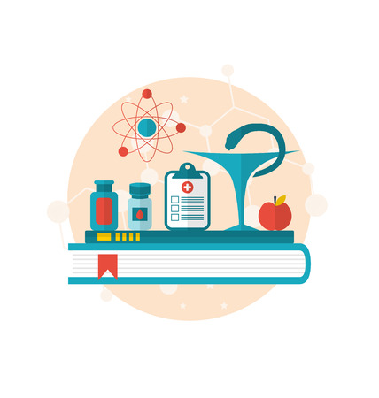 Illustration set flat icons of objects medicine laboratory, concept of healthcare system - vector Vector