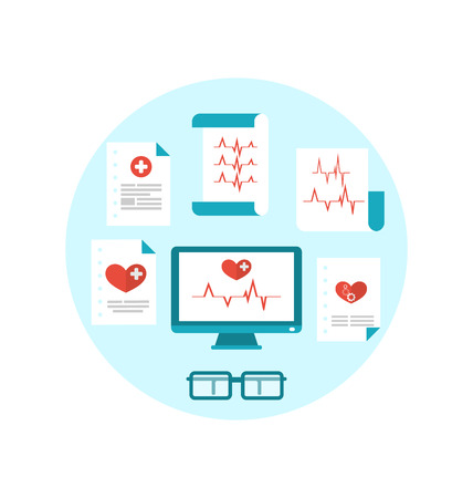 Illustration set modern flat medical icons with paper documents with electrocardiograms  Vector