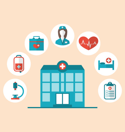 Illustration flat trendy icons of hospital and another medical objects, modern flat style  Vector