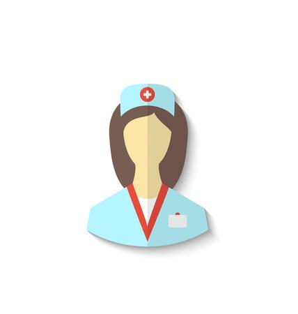 enfermeras: Ilustraci�n icono plana de enfermera m�dico con sombra aislados en blanco