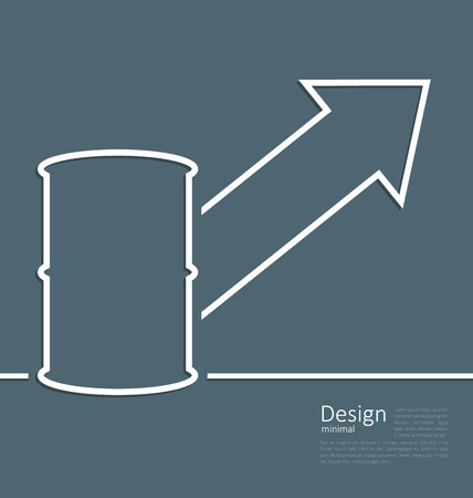 bbl: Illustration arrow indicating trend grow cost oil, barrel roll, template corporate style