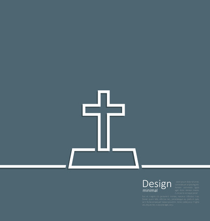 mourn: Illustration of gravestone in minimal flat style line  Illustration