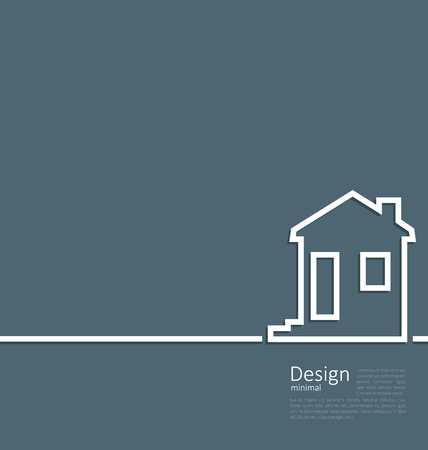 cleaness: Illustration web template house logo in minimal flat style cleaness line - vector