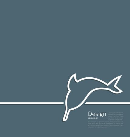dauphin: logo Illustration de dauphin dans la ligne de style plat minime - vecteur Illustration