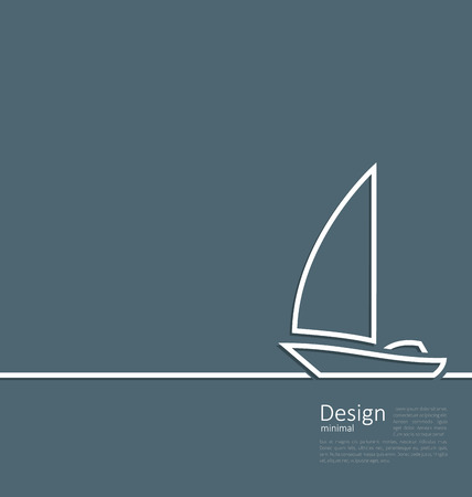 Illustration logo of sailboat in minimal flat style line - vector Vector