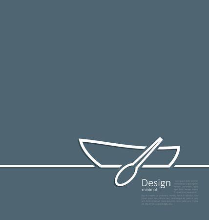 rowboat: Ilustraci�n logotipo del barco de fila en la l�nea de estilo plano m�nimo - vector Vectores