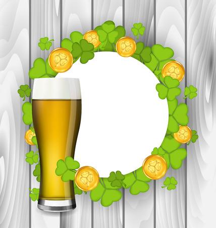 Illustration celebration card with glass of light beer, shamrocks and golden coins for St. Patricks Day, wooden background - vector Vector