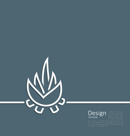Illustration logo of bonfire, symbol of camping, simple flat style line - vector Vector