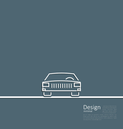 Illustration logo of car, front side, in minimal flat composition in lines style - vector Vector