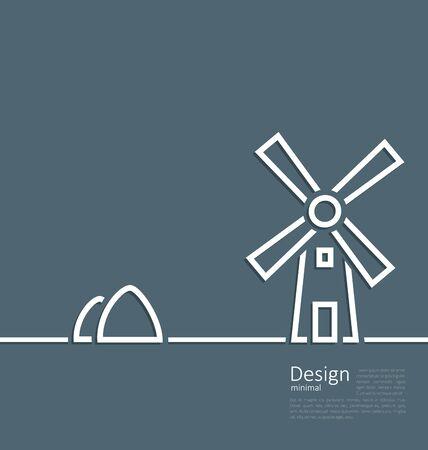 haystack: Illustration village landscape windmill haystack, design minimal line style - vector