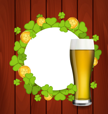 17th march: Illustration greeting card with glass of light beer, shamrocks and golden coins for St. Patricks Day - vector