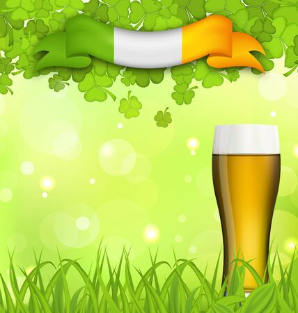irish beer: Illustration glowing nature background with glass of beer, clovers, grass and Irish flag for St. Patricks Day - vector Illustration