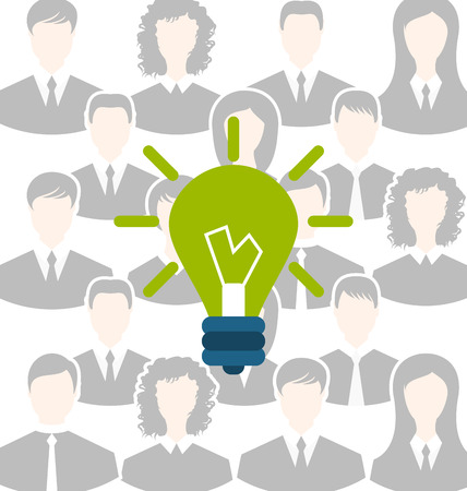 generating: Illustration group of business people gather together, process of generating idea - vector Illustration