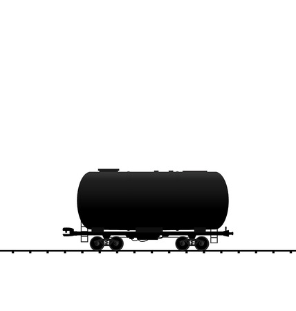 cistern: Illustration petroleum cistern wagon freight railroad train, black transportation icon - vector