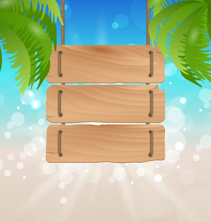 oceanside: Illustration wooden signboard on tropical beach - vector