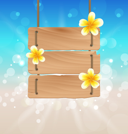 subtropical: Illustration hanging wooden signboard with tropical flowers frangipani - vector