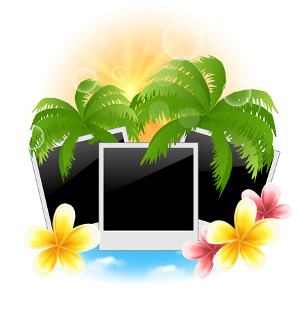 oceanside: Illustration set photo frame with palms, flowers frangipani, seascape background - vector