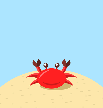 Illustration cartoon cheerful crab at the beach, natural seascape - vector Illustration