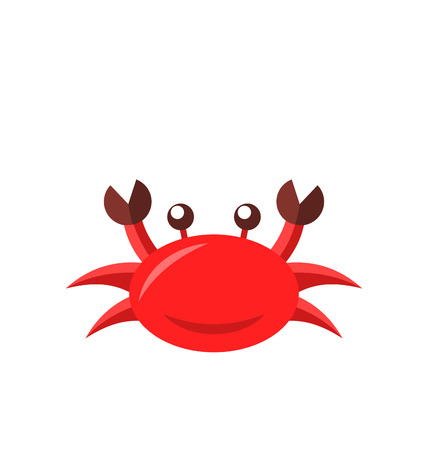 pinching: Illustration cartoon funny crab isolated on white background - vector